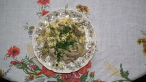 jajecznica z boczniakami